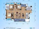 交投地产阳光100新叶城_4室2厅2卫 建面117平米